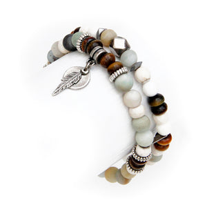 Mini Boho Bracelet - White, Brown & Amazonite