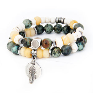 Boho Bracelet - White, African Turquoise, Yellow & Silver Plated