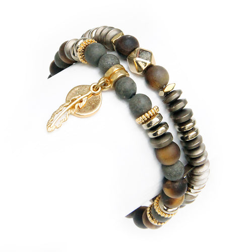 Mini Boho Bracelet - Pyrite & Frosted Tiger Eye