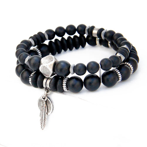 Boho Bracelet - Men - Black & Silver Plated