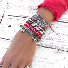 Crochet Bracelet - Red & Silver Plated