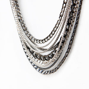 New York Necklace - Black & Silver Plated