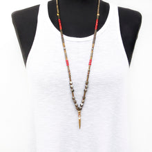 Mohawk Necklace - Red & Gold Plated
