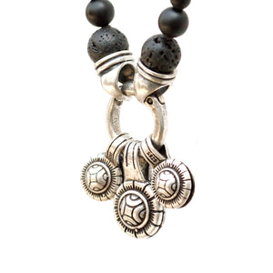 Tibetan Coins Necklace - Men - Black & Silver Plated