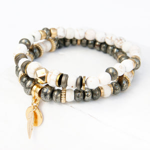 Mini Boho Bracelet - White, Pyrite & Gold Plated