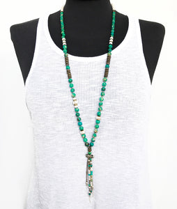 Fringe Mala Necklace - Green