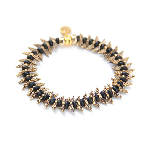 Camila Bracelet - Black & Gold Plated