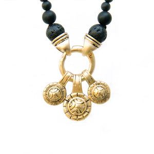 Tibetan Coins Necklace - Men - Black & Gold Plated