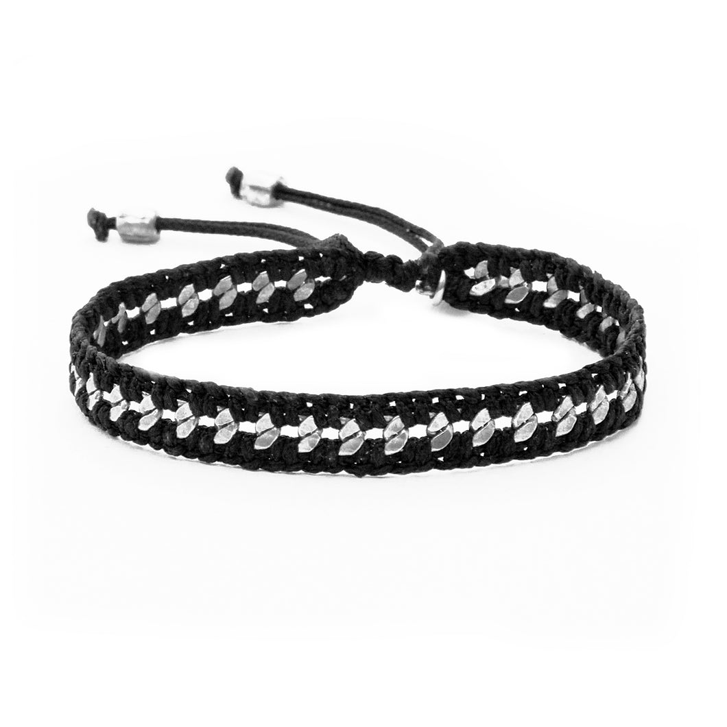 Crochet Bracelet - Black & Silver Plated