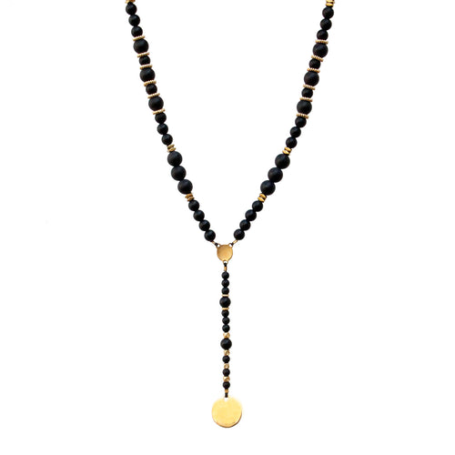 Boho Necklace - Black & Gold Plated