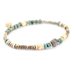 Sheryl Bracelet - Turquoise & Gold Plated