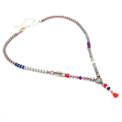 Niky Necklace - Blue, Red, Sterling Silver & Silver plated