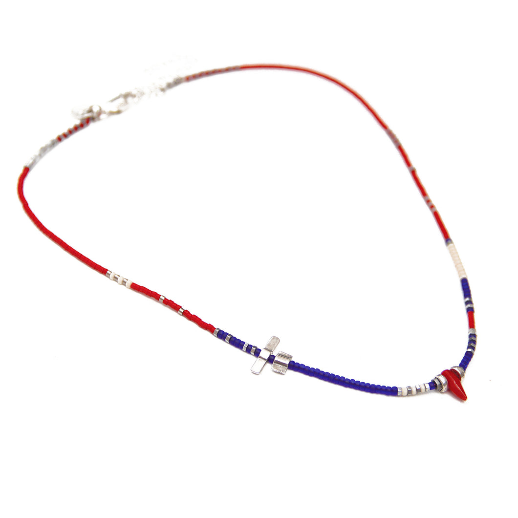 Noel Necklace - Blue, Red, White & Sterling Silver
