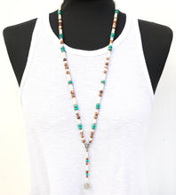 Boho Necklace - White, Brown, Turquoise & Silver Plated