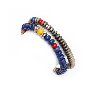 Mini Boho Bracelet - Red, Yellow, Blue & Silver Plated