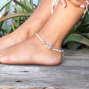 Sofia Anklet - Pearls, Pink, Turquoise, Gold Plating