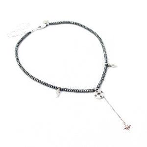 Gina Choker Necklace - Hematite & Sterling Silver