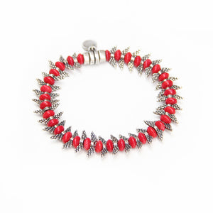 Camila Bracelet - Red & Silver Plated