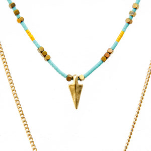 Rocky Necklace -Turquoise & Gold Plated