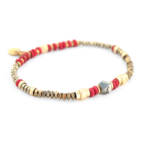 Sheryl Bracelet - Red & Gold Plated