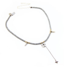 Gina Choker Necklace - Grey, Sterling Silver & Gold Plated