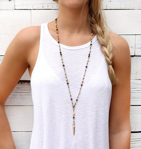 Rosary Necklace - Black, White & Gold Plated
