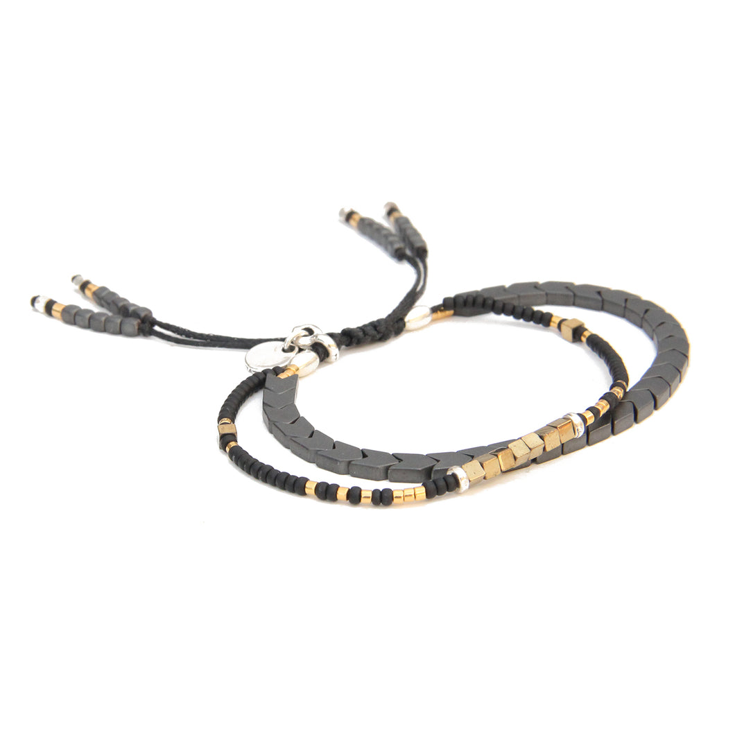 Tribe Bracelet - Grey, Black, Gold Plated & Silver