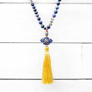 Totem Mala Necklace - Yellow, Blue & Silver Plated