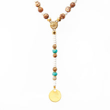 Boho Necklace - White, Brown, Turquoise & Gold Plated