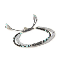 Tribe Bracelet - Grey, Black, Light Blue & Sterling Silver