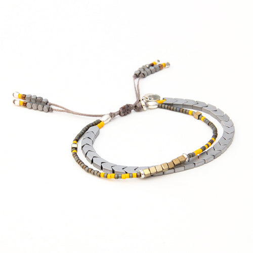 Tribe Bracelet - Grey, Bronze, Yellow & Sterling Silver
