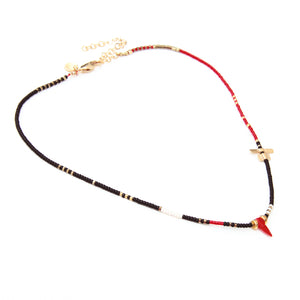 Noel Necklace - Black, Red, White & Gold Plated