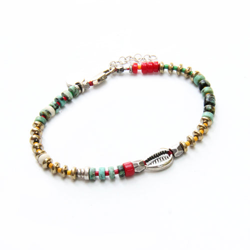 Niky Bracelet - Red, Turquoise & Silver