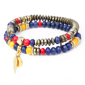 Mini Boho Bracelet - Red, Yellow, Blue & Gold Plated