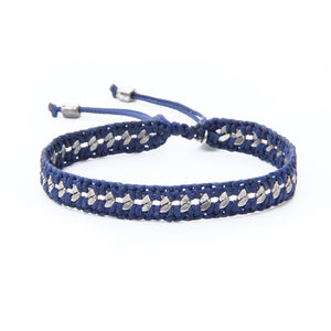 Crochet Bracelet - Blue & Silver Plated