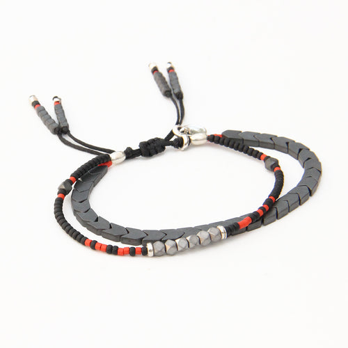 Tribe Bracelet - Grey, Black, Red & Sterling Silver