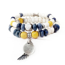 Boho Bracelet - White, Yellow, Blue & Silver Plated (Wing)
