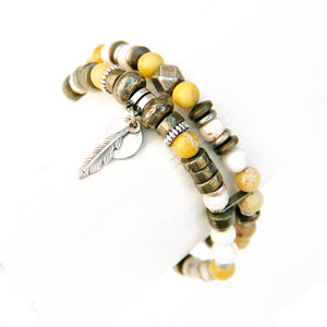 Mini Boho Bracelet - White, Yellow, Pyrite & Silver Plated