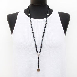 Boho Necklace - Black & Silver Plated