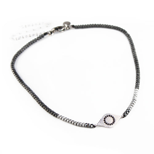 Eye Choker Necklace - Silver Plated
