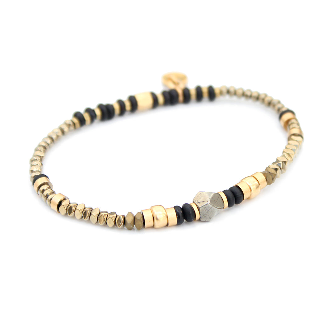 Sheryl Bracelet - Black & Gold Plated