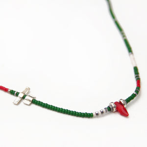 Noel Necklace - Green, Red, White & Sterling Silver