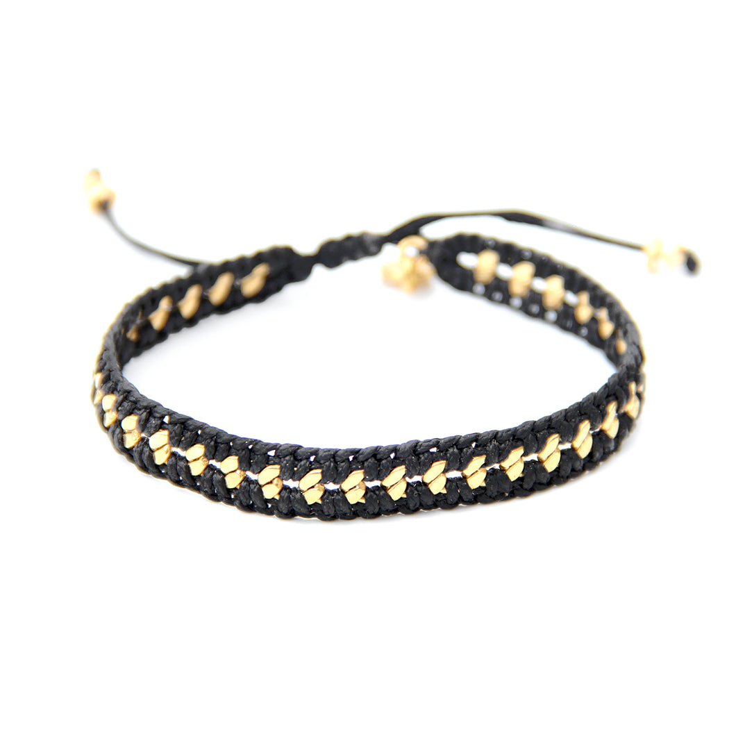 Crochet Bracelet - Black & Gold Plated