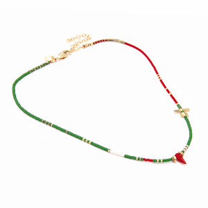 Noel Necklace - Green, Red, White & Gold Plated