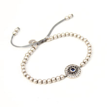 Zircons Eye Bracelet - Black, Blue & Silver Plated