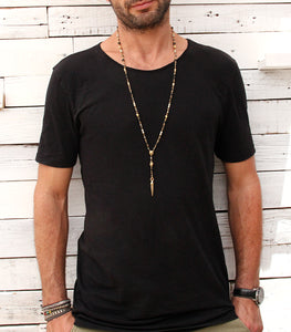 Rosary Necklace - Men - Black, White & Gold Plated