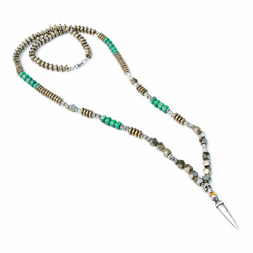 Mohawk Necklace - Green & Silver Plated