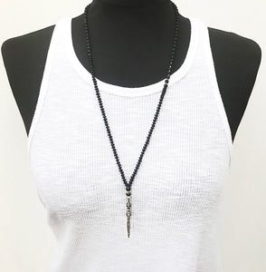 Nogo Necklace - Black & Silver Plated