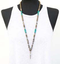 Mohawk Necklace - Turquoise & Silver Plated