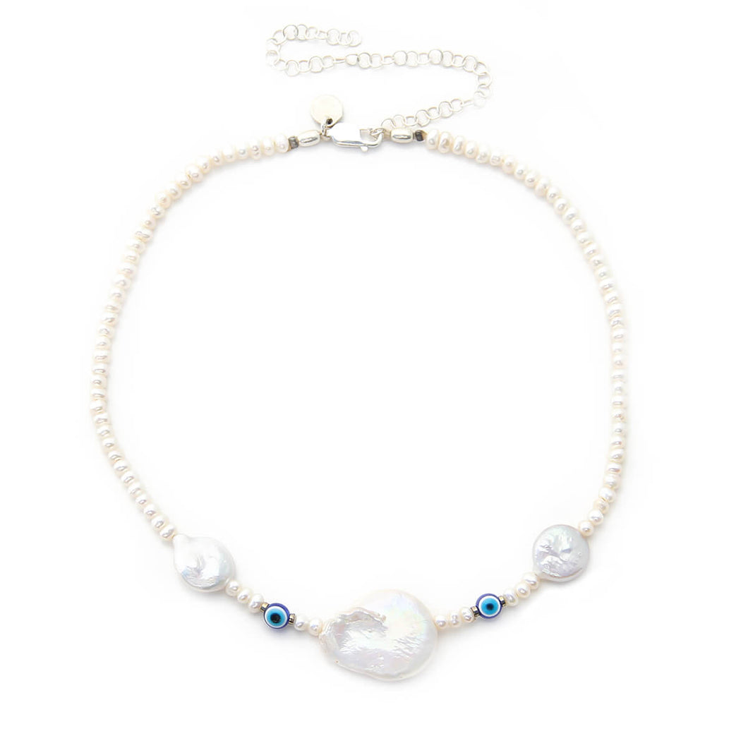 Blue Eyes Choker - Sterling Silver, Natural Pearls